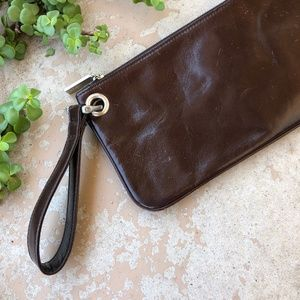 HOBO Brown Leather Rectangle Zip Clutch